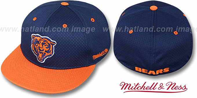 Bears '2T BP-MESH' Navy-Orange Fitted Hat by Mitchell & Ness : pictured without stickers that these products are shipped with