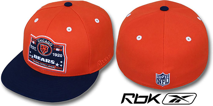 Bears '2T ESTABLISHED' Orange-Navy Fitted Hat by Reebok : pictured without stickers that these products are shipped with