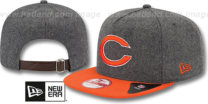 Bears '2T MELTON A-FRAME STRAPBACK' Hat by New Era : pictured without stickers that these products are shipped with