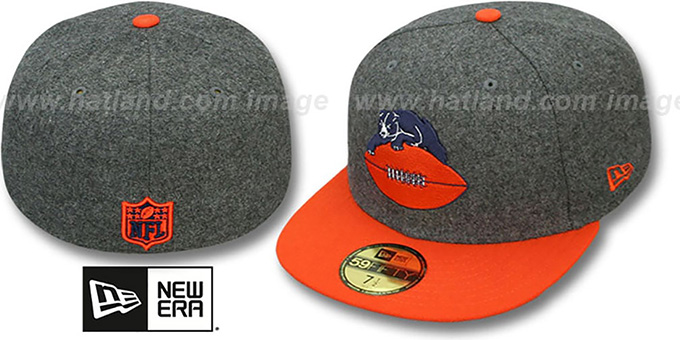 Bears '2T NFL THROWBACK MELTON-BASIC' Grey-Orange Fitted Hat by New Era : pictured without stickers that these products are shipped with