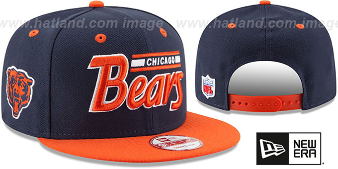 Bears '2T RETRO-SCRIPT SNAPBACK' Navy-Orange Hat by New Era : pictured without stickers that these products are shipped with
