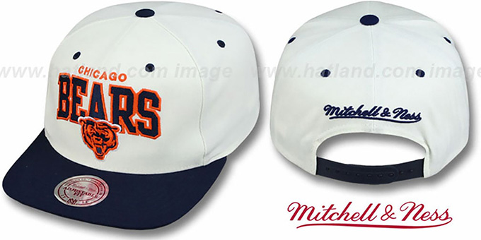Bears '2T TEAM ARCH SNAPBACK' White-Navy Hat by Mitchell & Ness : pictured without stickers that these products are shipped with