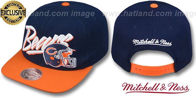Bears '2T VICE SNAPBACK' Navy-Orange Adjustable Hat by Mitchell & Ness : pictured without stickers that these products are shipped with