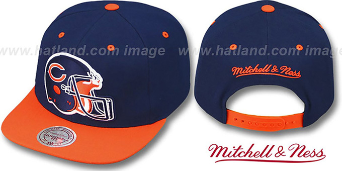 Bears '2T XL-HELMET SNAPBACK' Navy-Orange Adjustable Hat by Mitchell & Ness : pictured without stickers that these products are shipped with