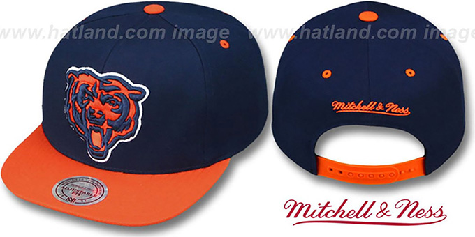 Bears '2T XL-LOGO SNAPBACK' 2 Navy-Orange Adjustable Hat by Mitchell & Ness : pictured without stickers that these products are shipped with