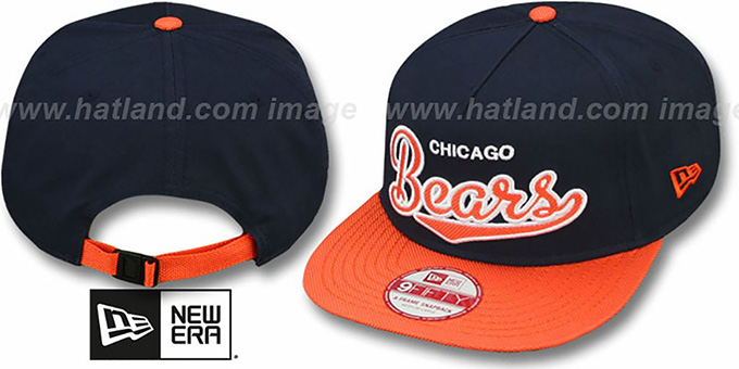Bears 'BALLISTIC SCRIPT A-FRAME STRAPBACK' Navy-Orange Hat by New Era : pictured without stickers that these products are shipped with