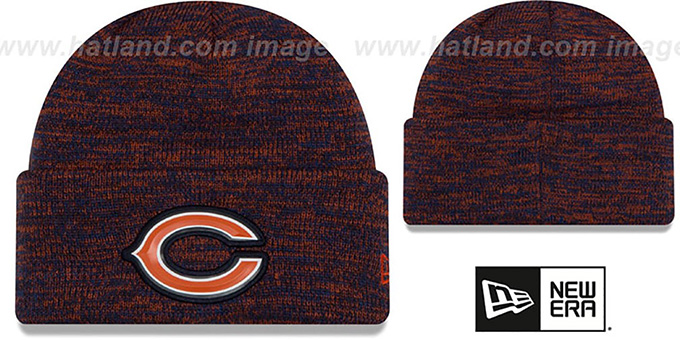 Bears 'BEVEL' Navy-Orange Knit Beanie Hat by New Era : pictured without stickers that these products are shipped with