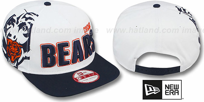 Bears 'BIGSIDE A-FRAME SNAPBACK' White-Navy Hat by New Era : pictured without stickers that these products are shipped with