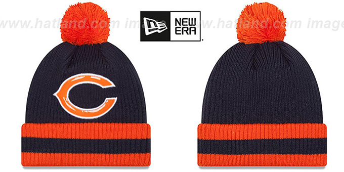 Bears 'CHILLER FILLER BEANIE' Navy-Orange by New Era : pictured without stickers that these products are shipped with