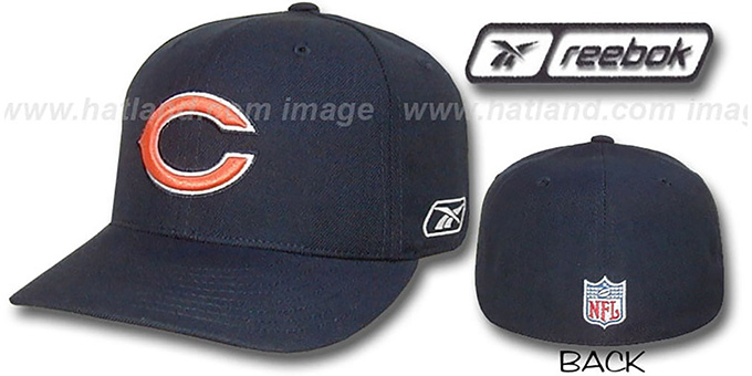 Bears 'COACHES' Fitted Hat by Reebok - navy : pictured without stickers that these products are shipped with