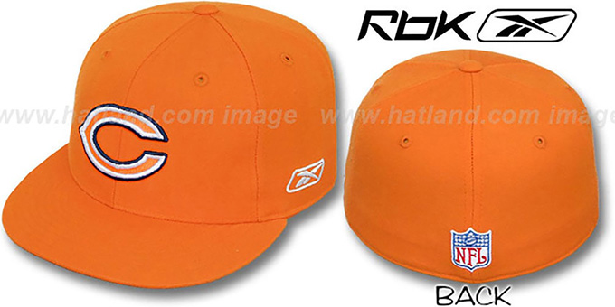 Bears 'COACHES' Orange Fitted Hat by Reebok : pictured without stickers that these products are shipped with