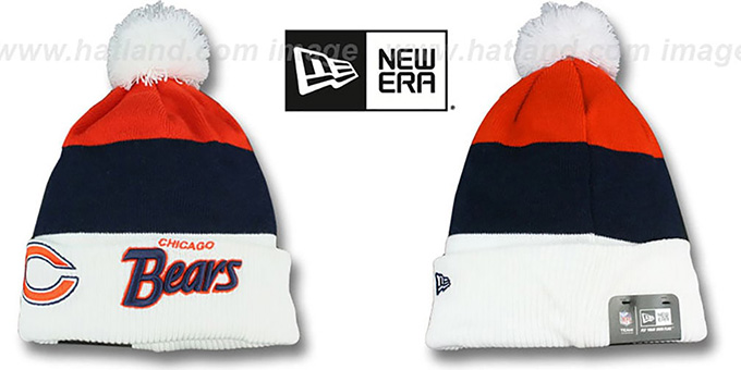 Bears 'CUFF-SCRIPTER' White-Navy-Orange Knit Beanie Hat by New Era : pictured without stickers that these products are shipped with