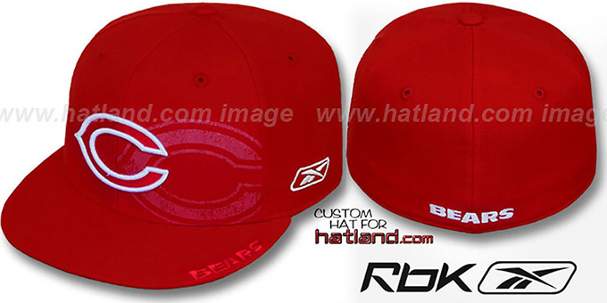 Bears 'DOUBLECOVERAGE' Red-White Fitted Hat by Reebok : pictured without stickers that these products are shipped with