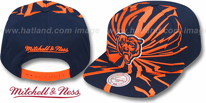 Bears 'EARTHQUAKE SNAPBACK' Navy Hat by Mitchell & Ness : pictured without stickers that these products are shipped with