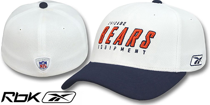 Bears 'EQUIPMENT-FLEX' White-Navy Hat by Reebok : pictured without stickers that these products are shipped with