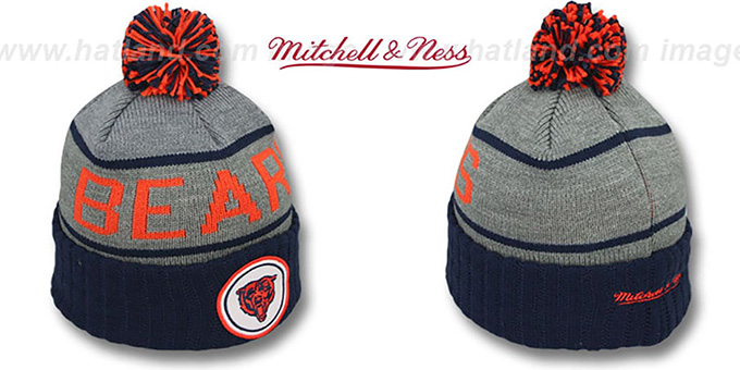 Bears 'HIGH-5 CIRCLE BEANIE' Grey-Navy by Mitchell and Ness : pictured without stickers that these products are shipped with