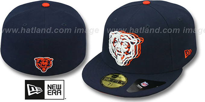 Bears 'ILLUSION' Navy Fitted Hat by New Era : pictured without stickers that these products are shipped with