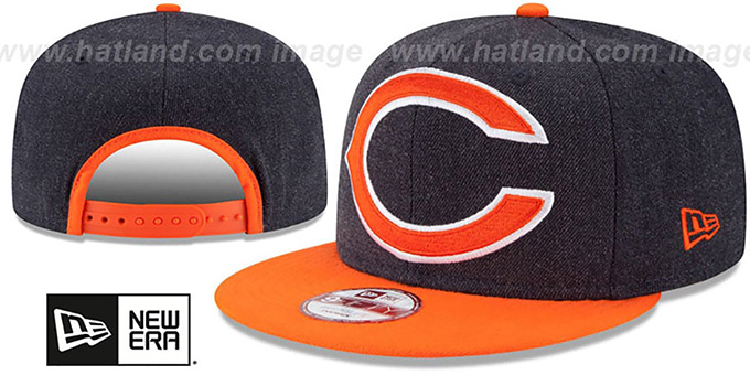 Bears 'LOGO GRAND SNAPBACK' Navy-Orange Hat by New Era : pictured without stickers that these products are shipped with