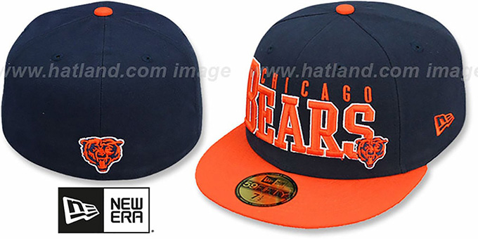 Bears 'NFL 2T CHOP-BLOCK' Navy-Orange Fitted Hat by New Era : pictured without stickers that these products are shipped with