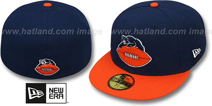 Bears 'NFL 2T THROWBACK TEAM-BASIC' Navy-Orange Fitted Hat by New Era : pictured without stickers that these products are shipped with