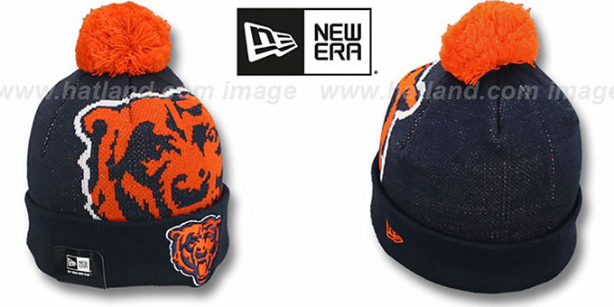 Bears 'NFL-BIGGIE' Navy Knit Beanie Hat by New Era : pictured without stickers that these products are shipped with