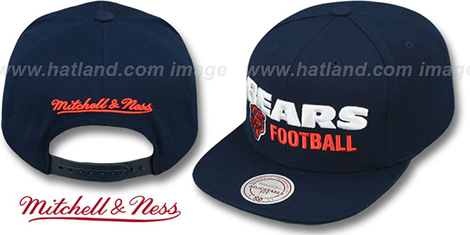 Bears  NFL-BLOCKER SNAPBACK  Navy Hat by Mitchell ... 4a67f6044