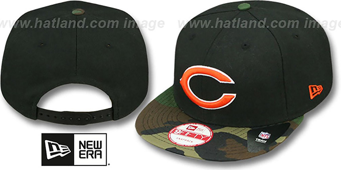 Bears 'NFL CAMO-BRIM SNAPBACK' Adjustable Hat by New Era : pictured without stickers that these products are shipped with