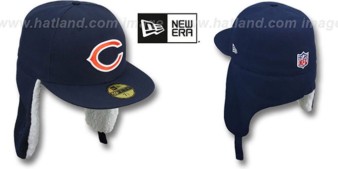 Bears 'NFL-DOGEAR' Navy Fitted Hat by New Era : pictured without stickers that these products are shipped with