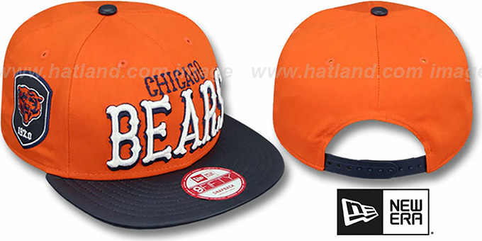 Bears 'NFL ENGLISH-WORD SNAPBACK' Orange-Navy Hat by New Era : pictured without stickers that these products are shipped with