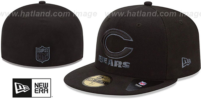 Bears 'NFL FADEOUT-BASIC' Black Fitted Hat by New Era : pictured without stickers that these products are shipped with