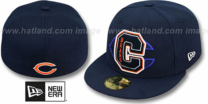Bears 'NFL FELTN' Navy Fitted Hat by New Era : pictured without stickers that these products are shipped with