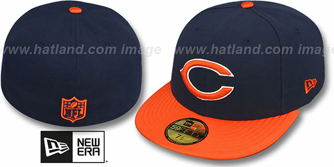 Bears 'NFL JERSEY-BASIC' Navy-Orange Fitted Hat by New Era : pictured without stickers that these products are shipped with