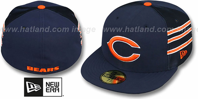 Bears 'NFL JERSEY-STRIPE' Navy Fitted Hat by New Era : pictured without stickers that these products are shipped with