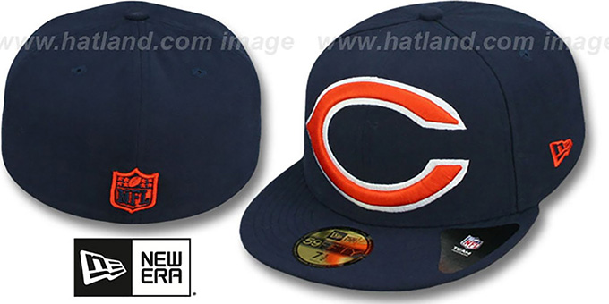 Bears NFL 'MIGHTY-XL' Navy Fitted Hat by New Era : pictured without stickers that these products are shipped with