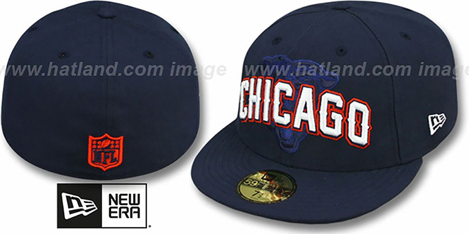 Bears 'NFL ONFIELD DRAFT' Navy Fitted Hat by New Era : pictured without stickers that these products are shipped with