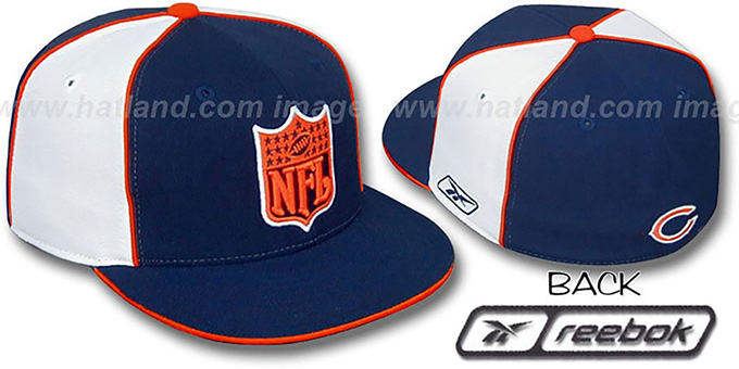 Bears 'NFL SHIELD PINWHEEL' Navy White Fitted Hat by Reebok : pictured without stickers that these products are shipped with