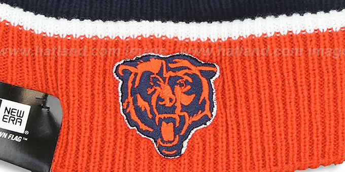 Bears 'NFL-TB FIRESIDE' Navy-Orange Knit Beanie Hat by New Era : pictured without stickers that these products are shipped with