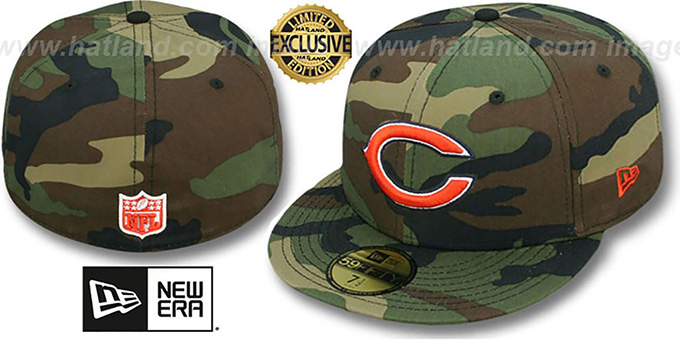 a49a6ff5e Bears NFL TEAM-BASIC Army Camo Fitted Hat by New Era