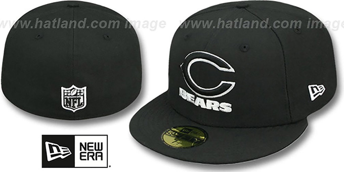 Bears 'NFL TEAM-BASIC' Black-White Fitted Hat by New Era : pictured without stickers that these products are shipped with
