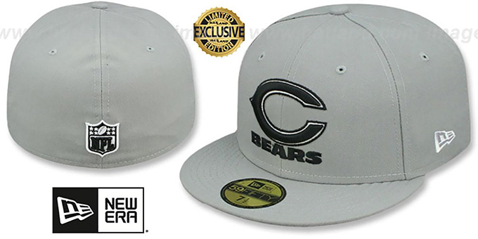 Bears 'NFL TEAM-BASIC' Grey-Black-White Fitted Hat by New Era : pictured without stickers that these products are shipped with