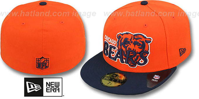 Bears 'NFL-TIGHT' Orange-Navy Fitted Hat by New Era : pictured without stickers that these products are shipped with