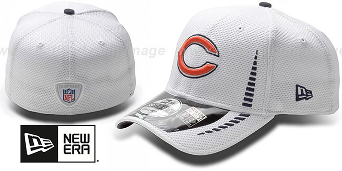 Bears 'NFL TRAINING FLEX' White Hat by New Era : pictured without stickers that these products are shipped with