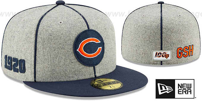 Bears 'ONFIELD SIDELINE HOME' Grey-Navy Fitted Hat by New Era
