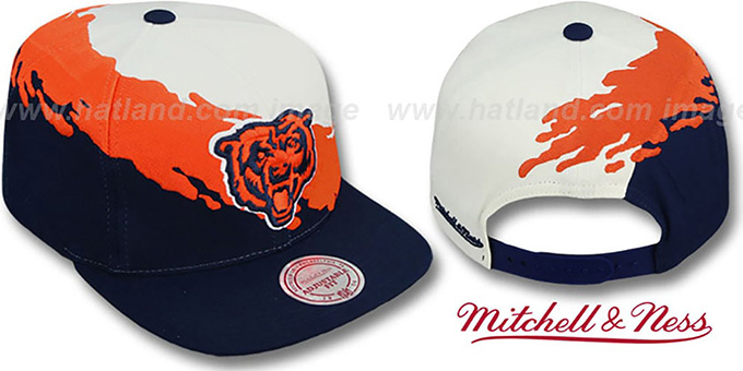 Bears 'PAINTBRUSH SNAPBACK' White-Orange-Navy Hat by Mitchell & Ness : pictured without stickers that these products are shipped with