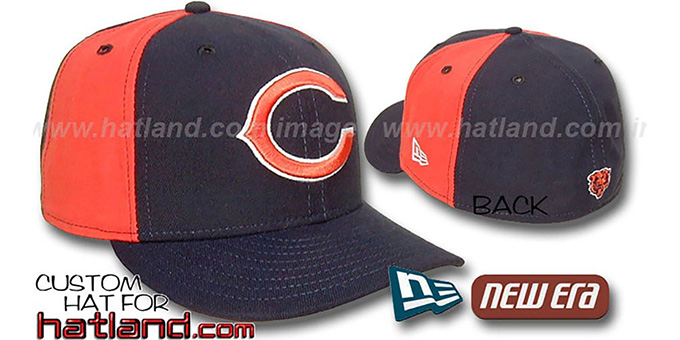 Bears 'PINWHEEL-2' Navy-Orange Fitted Hat by New Era : pictured without stickers that these products are shipped with