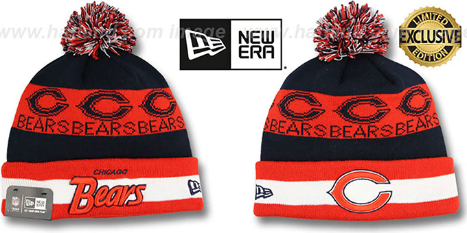 Bears 'REPEATER SCRIPT' Knit Beanie Hat by New Era : pictured without stickers that these products are shipped with