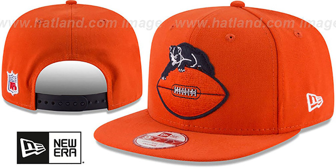 Bears 'RETRO-BASIC SNAPBACK' Orange Hat by New Era : pictured without stickers that these products are shipped with