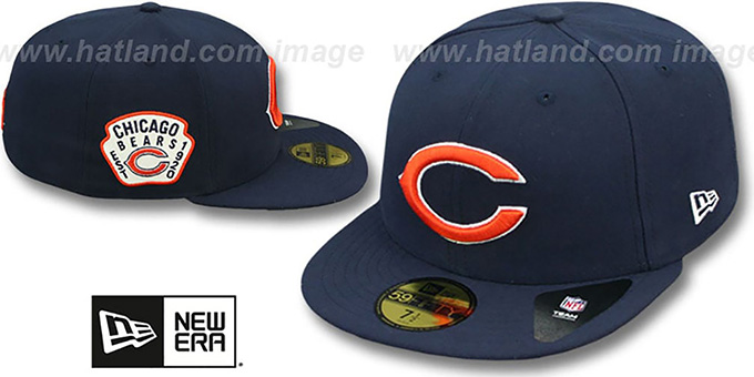 Bears 'SIDE TEAM-PATCH' Navy Fitted Hat by New Era : pictured without stickers that these products are shipped with