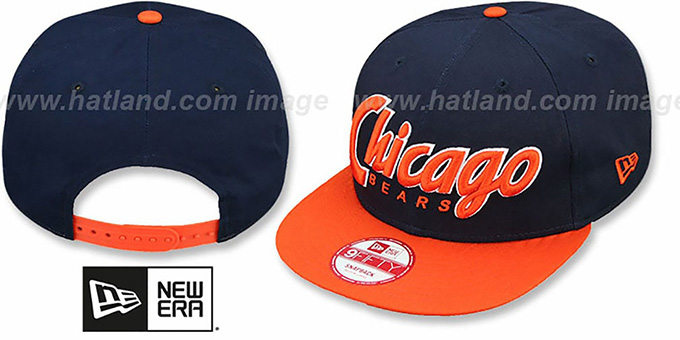 Bears 'SNAP-IT-BACK SNAPBACK' Navy-Orange Hat by New Era : pictured without stickers that these products are shipped with