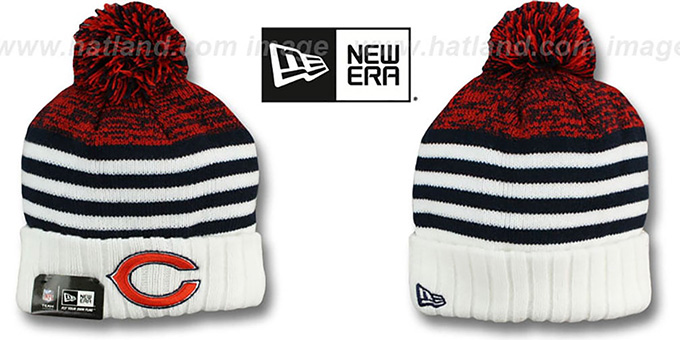 Bears 'SNOWFALL STRIPE' Knit Beanie Hat by New Era : pictured without stickers that these products are shipped with
